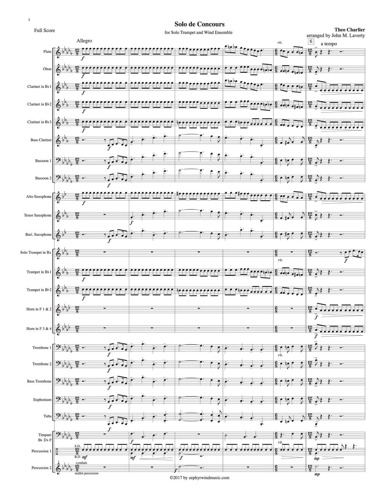 Charlier, Solo De Concours for Solo Trumpet and Wind Ensemble-p003