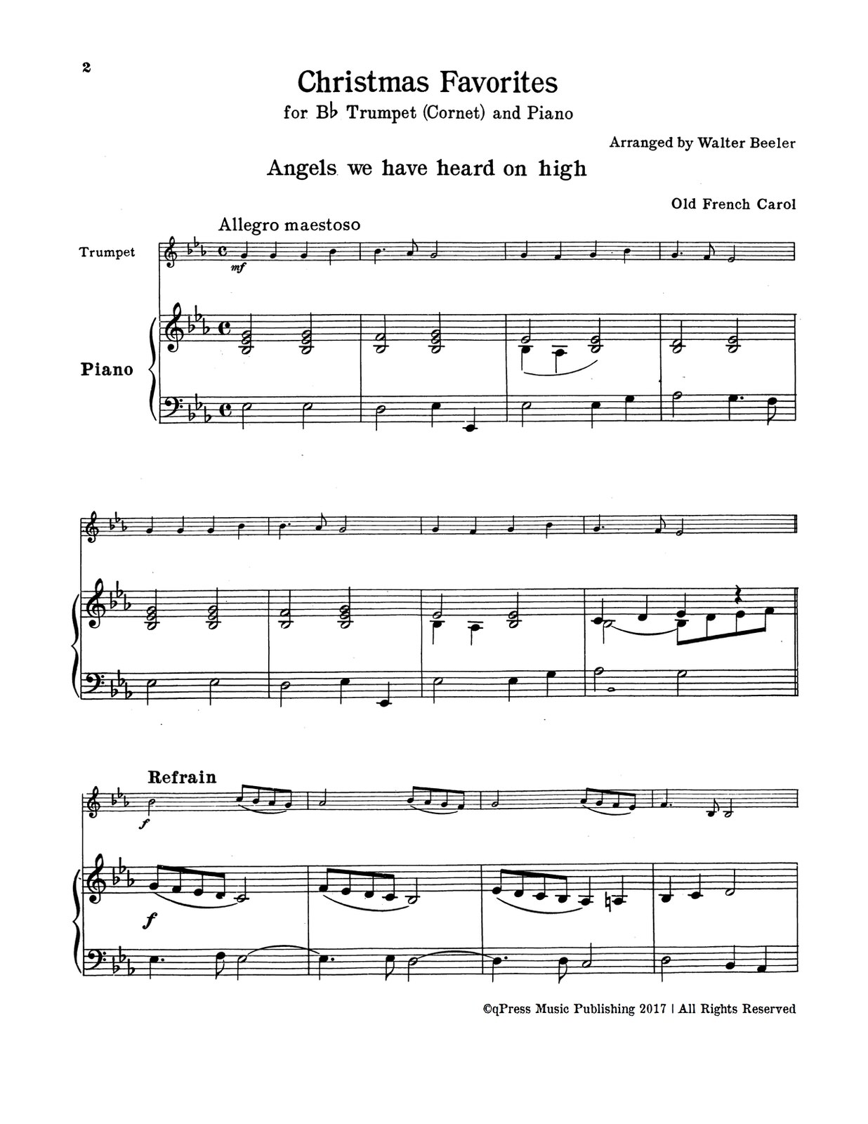 Beeler\'s Christmas Favorites for Trumpet & Piano by Beeler, Walter ...