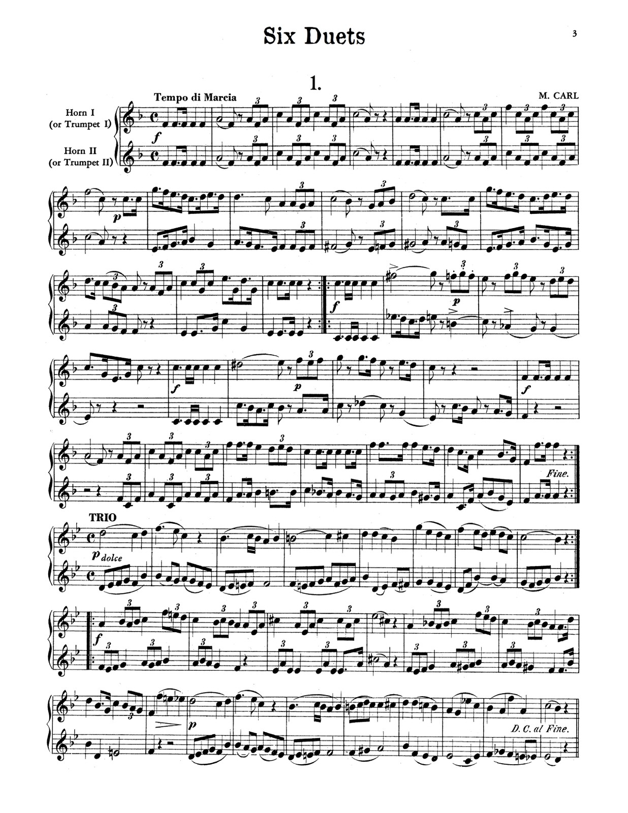 Carl, Six Duets for Two Horns or Trumpets-p03