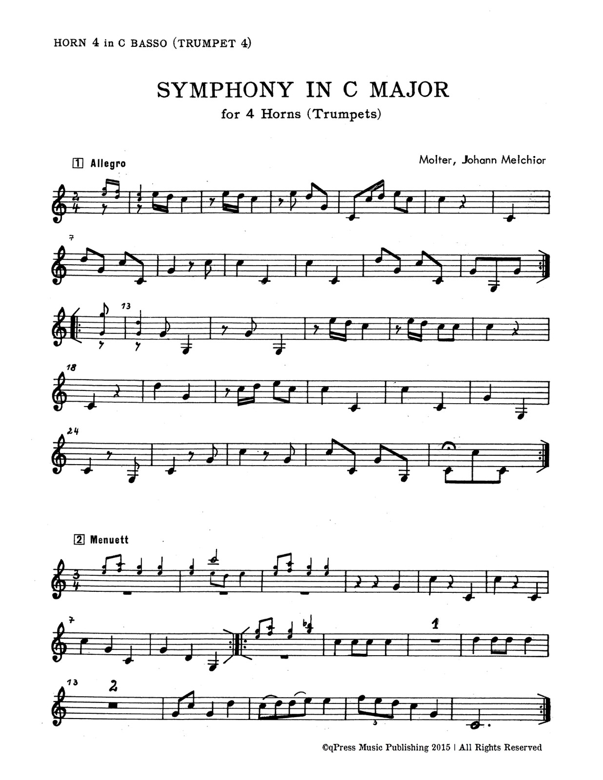 Molter, Symphony in C for 4 Trumpets or Horns-p15