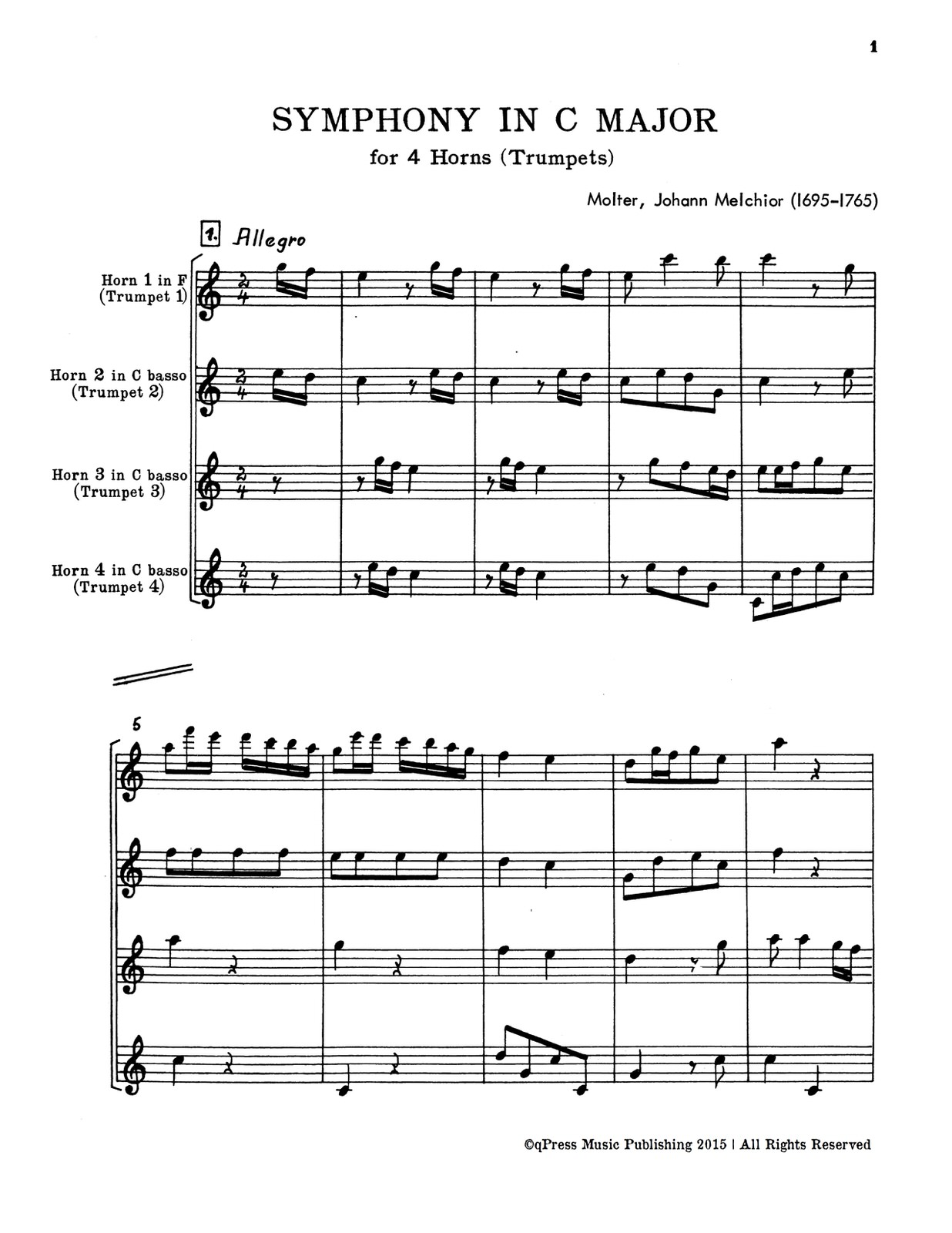 Molter, Symphony in C for 4 Trumpets or Horns-p19