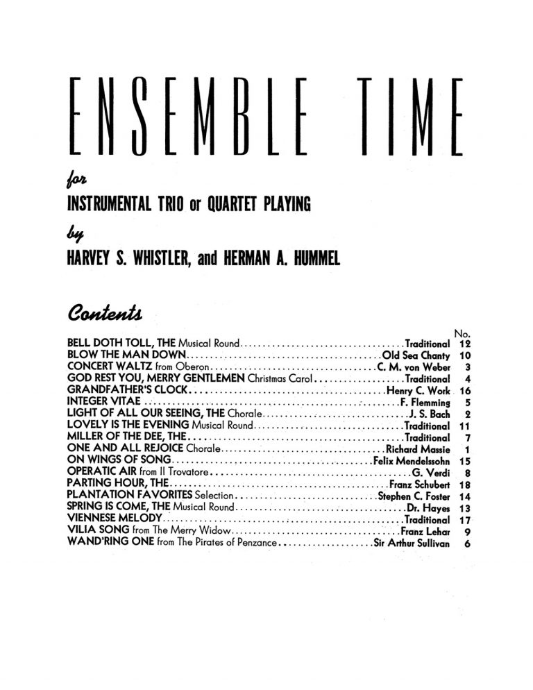 Ensemble Time Instrumental Trios and Quartets