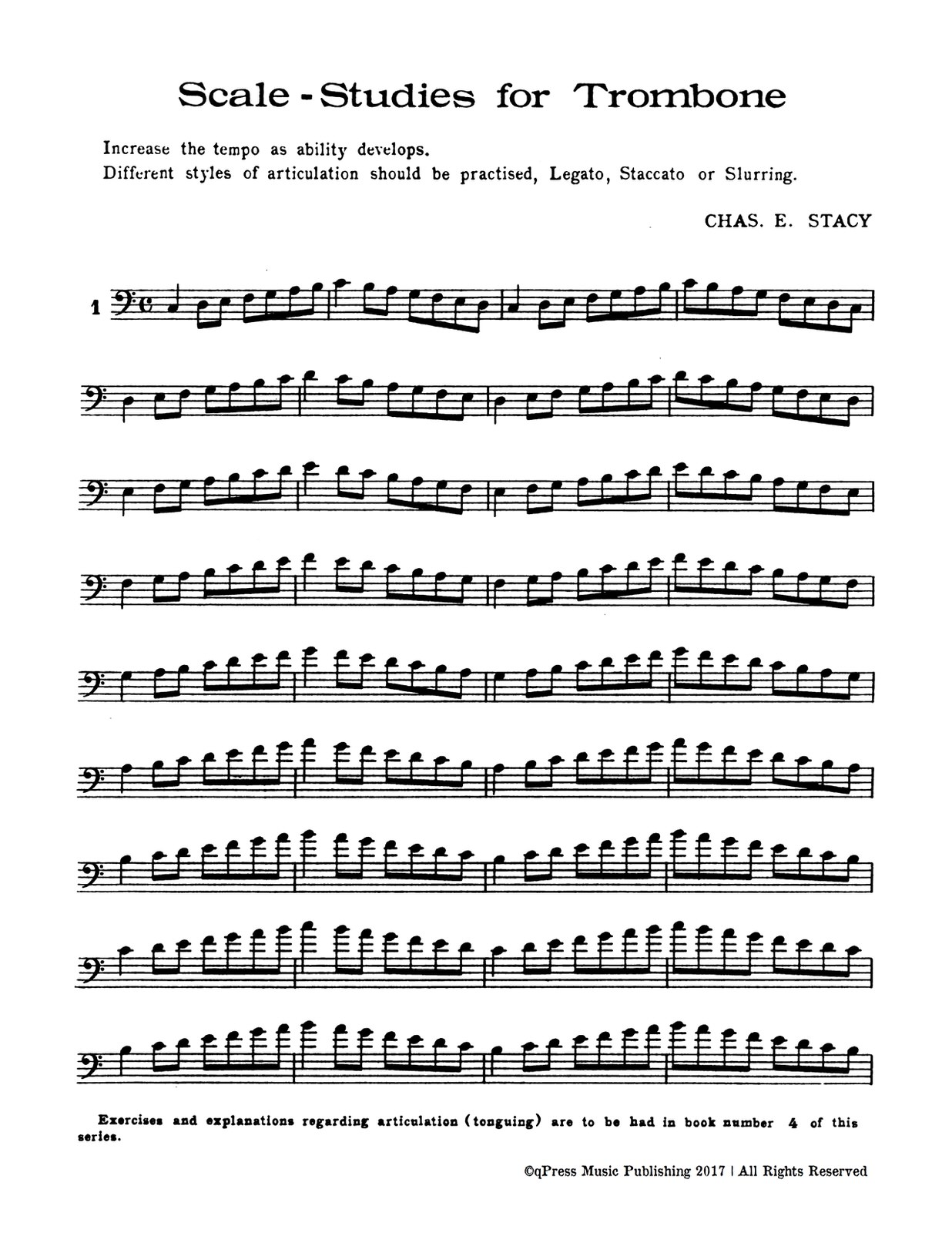 Stacy, Stacy's successful studies for trombone-p18