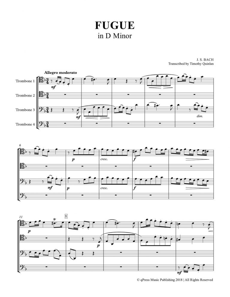 Fugue in D Minor for 4 Trumpets or 4 Trombones