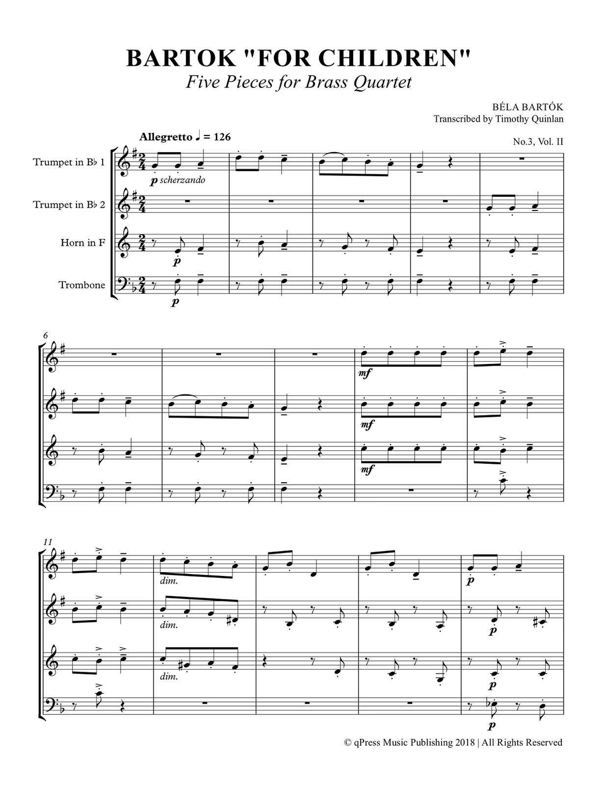 Bartok, Bartok for Children Brass Quartet (Score and Parts) 2