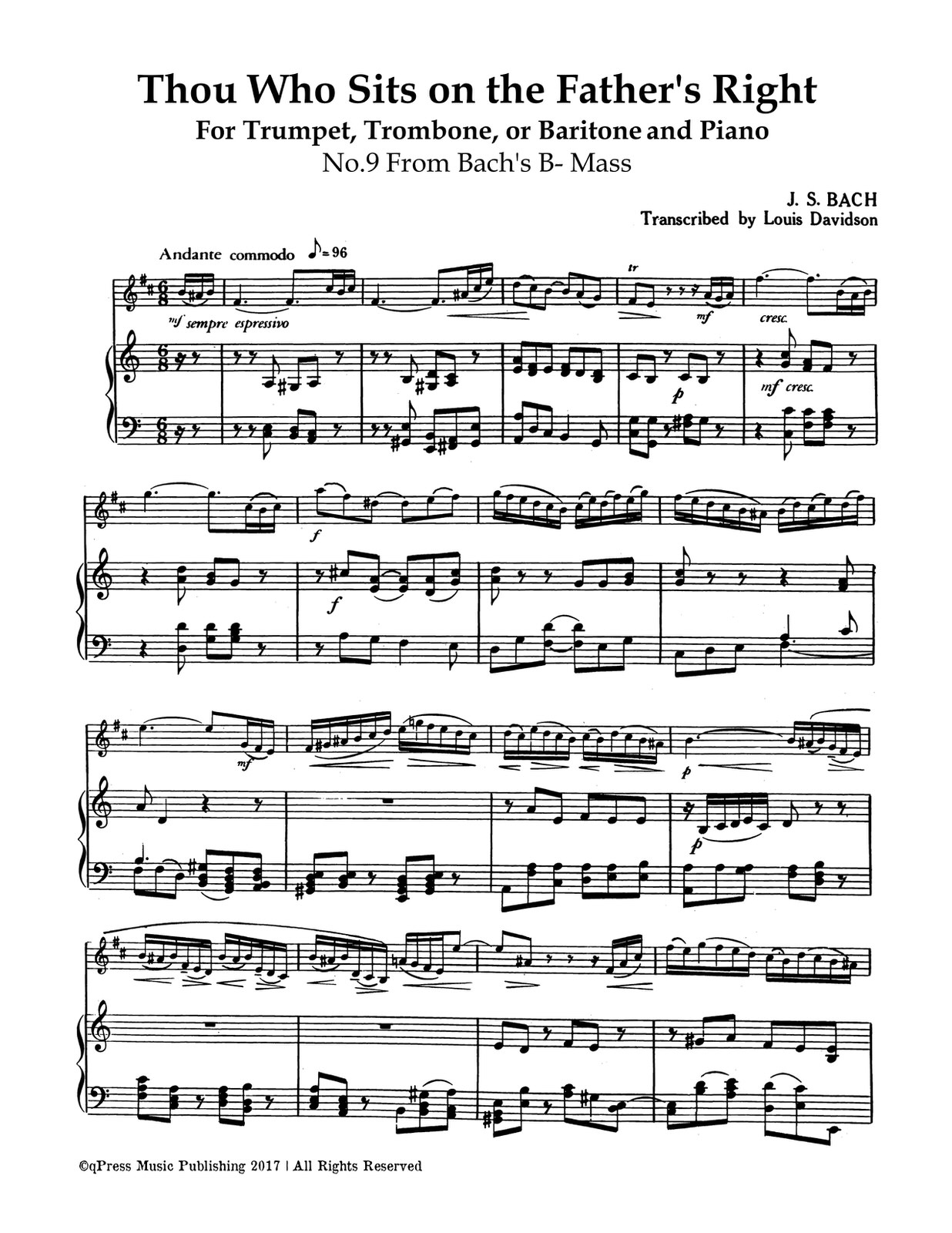 Bach, Davidson, Thou Who Sits to the Father's Right