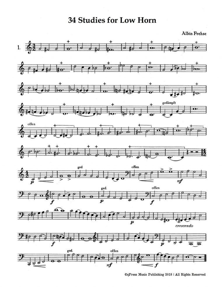 34 Studies for Low Horn