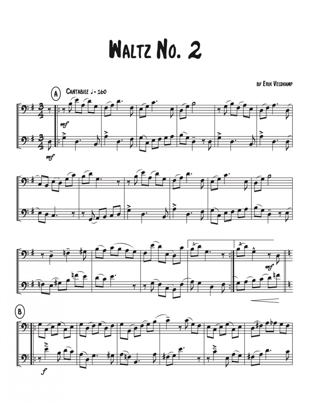 Veldkamp, Waltzing Duets for Trombone-p06
