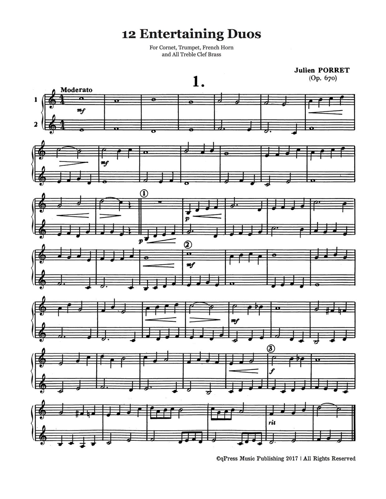 Porret, 12 Divertissements en Duos for Cornet, Trumpet, Bugle-p03