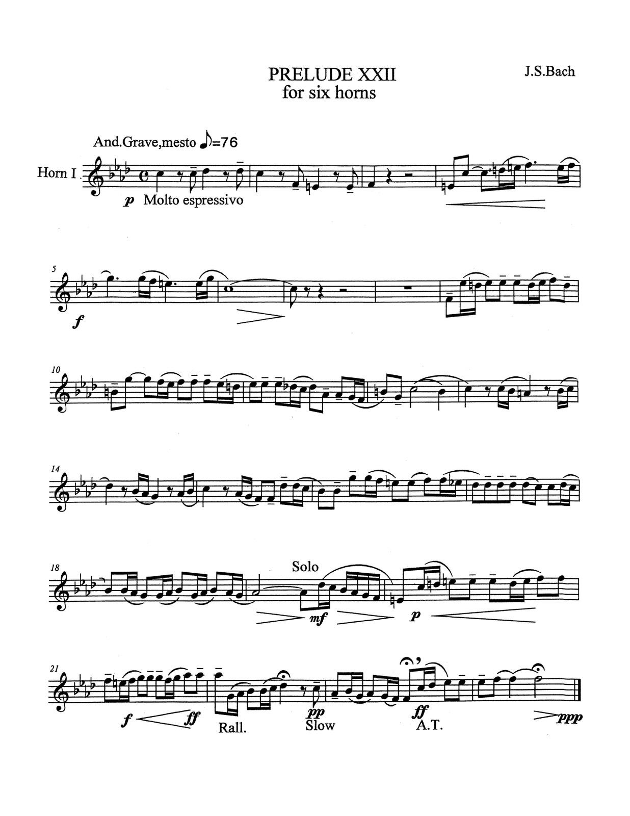Barranco-Bach, Prelude & Fuge XXII for 6 Horns-p17