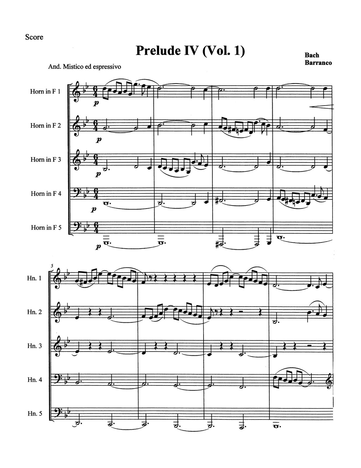 Barranco-Bach, Prelude & Fugue IV Vol.1 for 5 Horns (Score and Parts)-p05