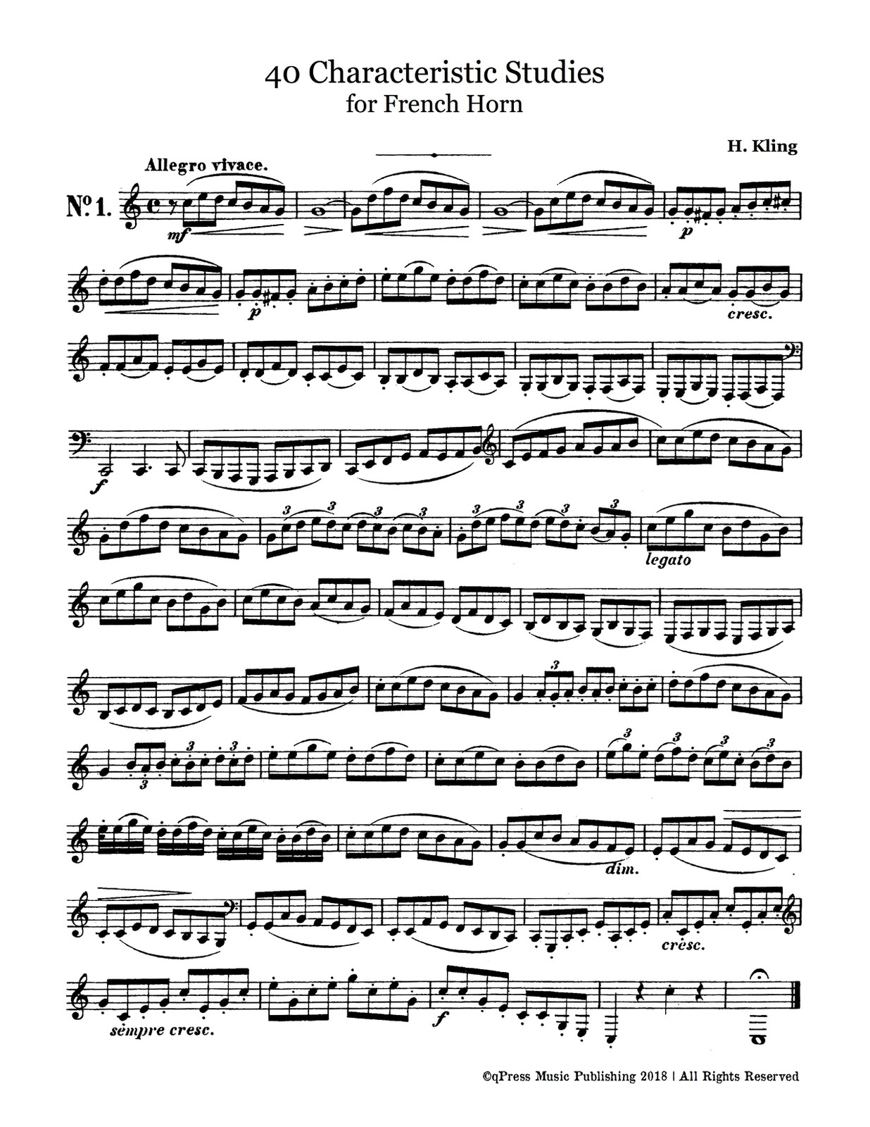 Kling, 40 Characteristic Etudes for French Horn-p03