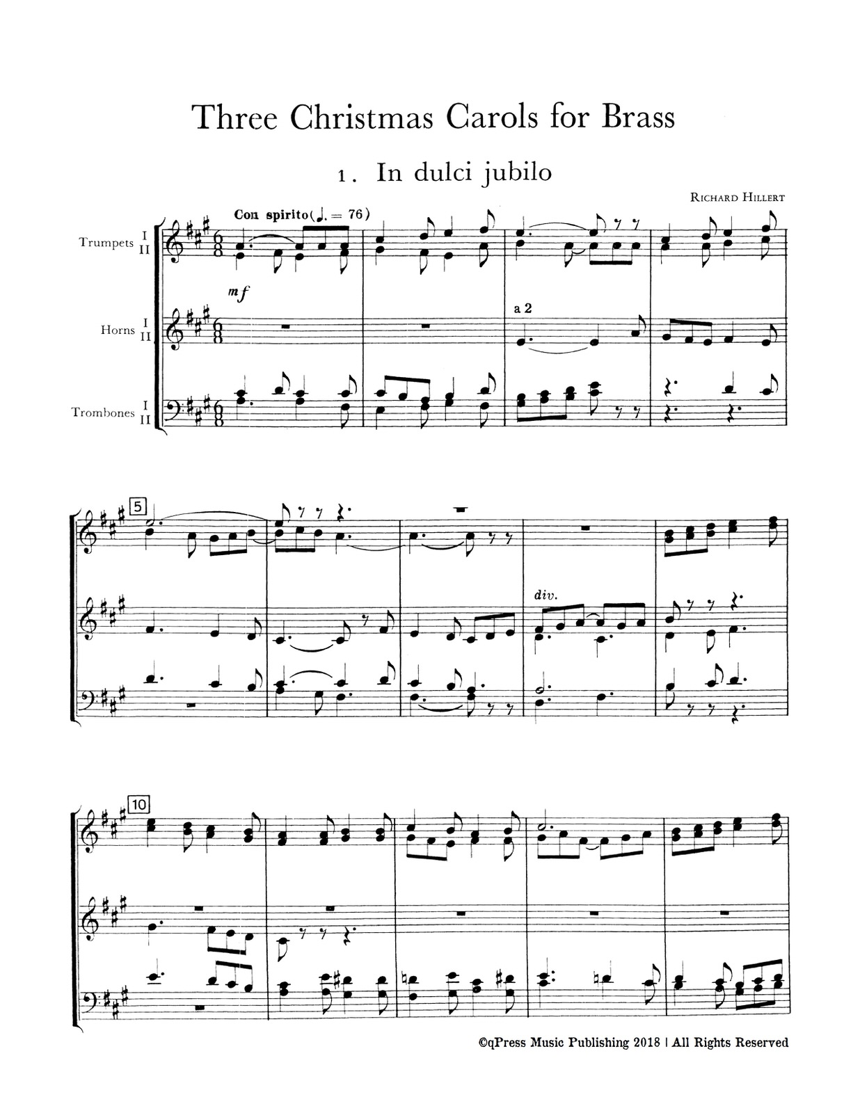 Christmas Carol Music.3 Christmas Carols For Brass By Hillert Richard Qpress