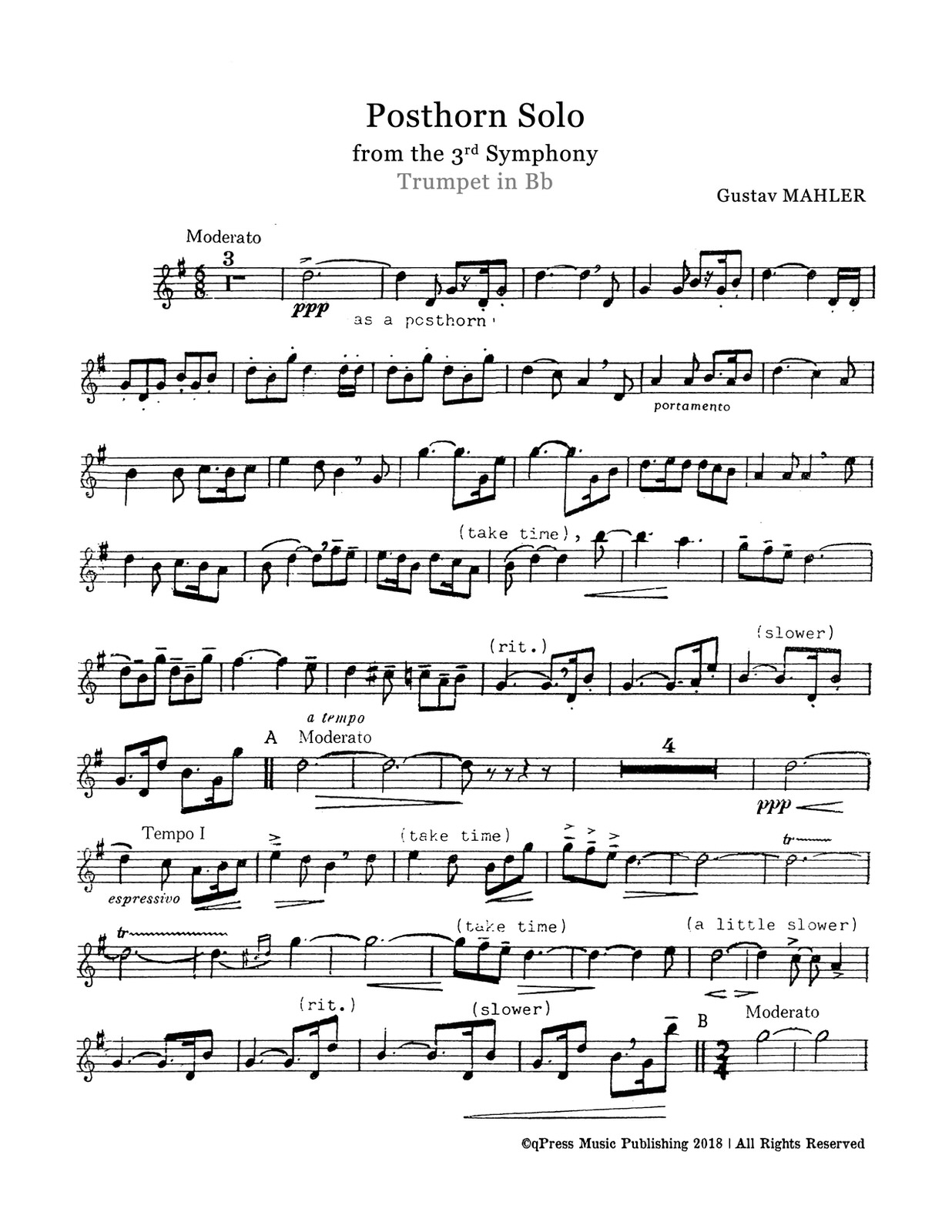 Posthorn Solo for Trumpet and Piano by Mahler, Gustav   qPress