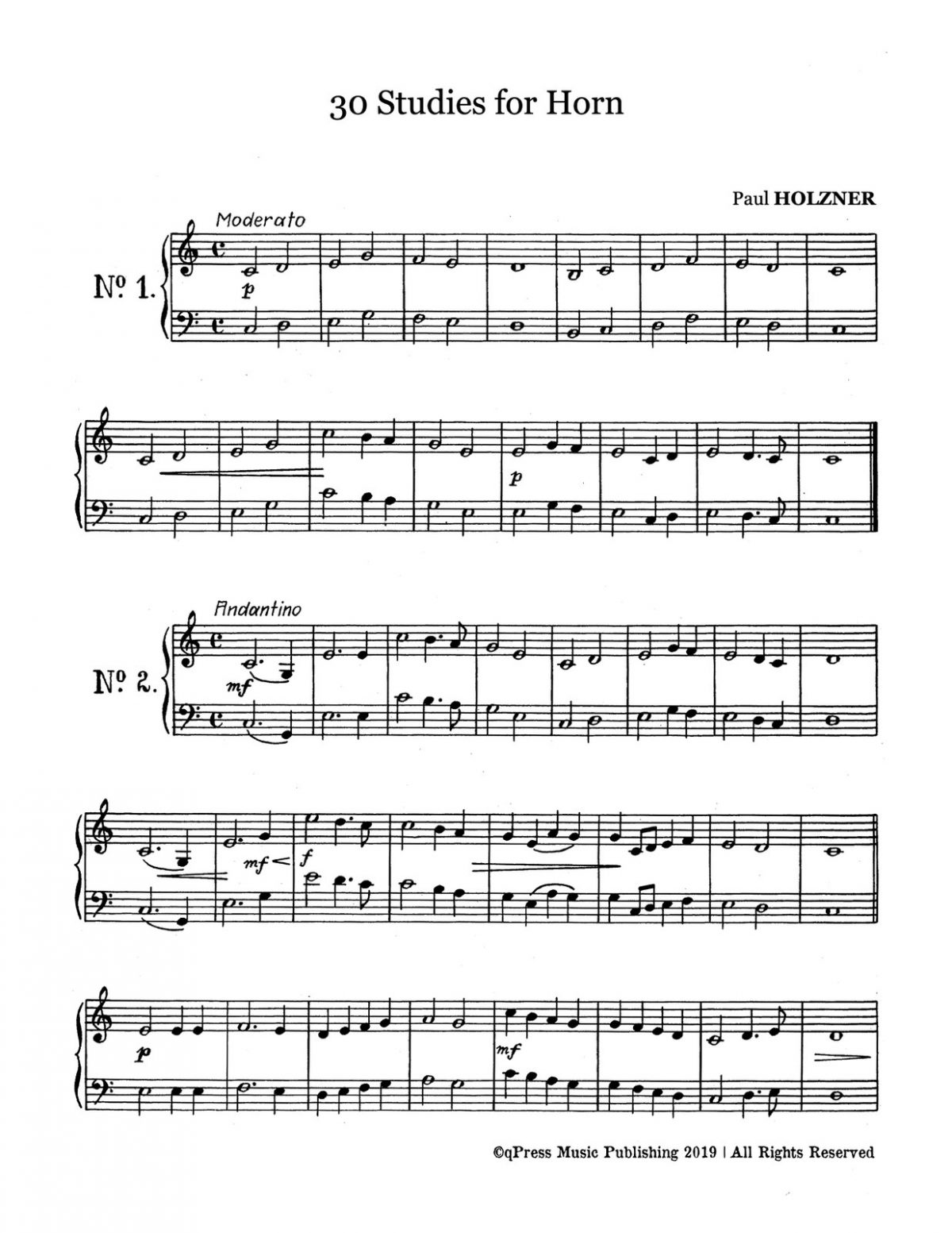 Holzner, 30 Etudes for Horn-p02