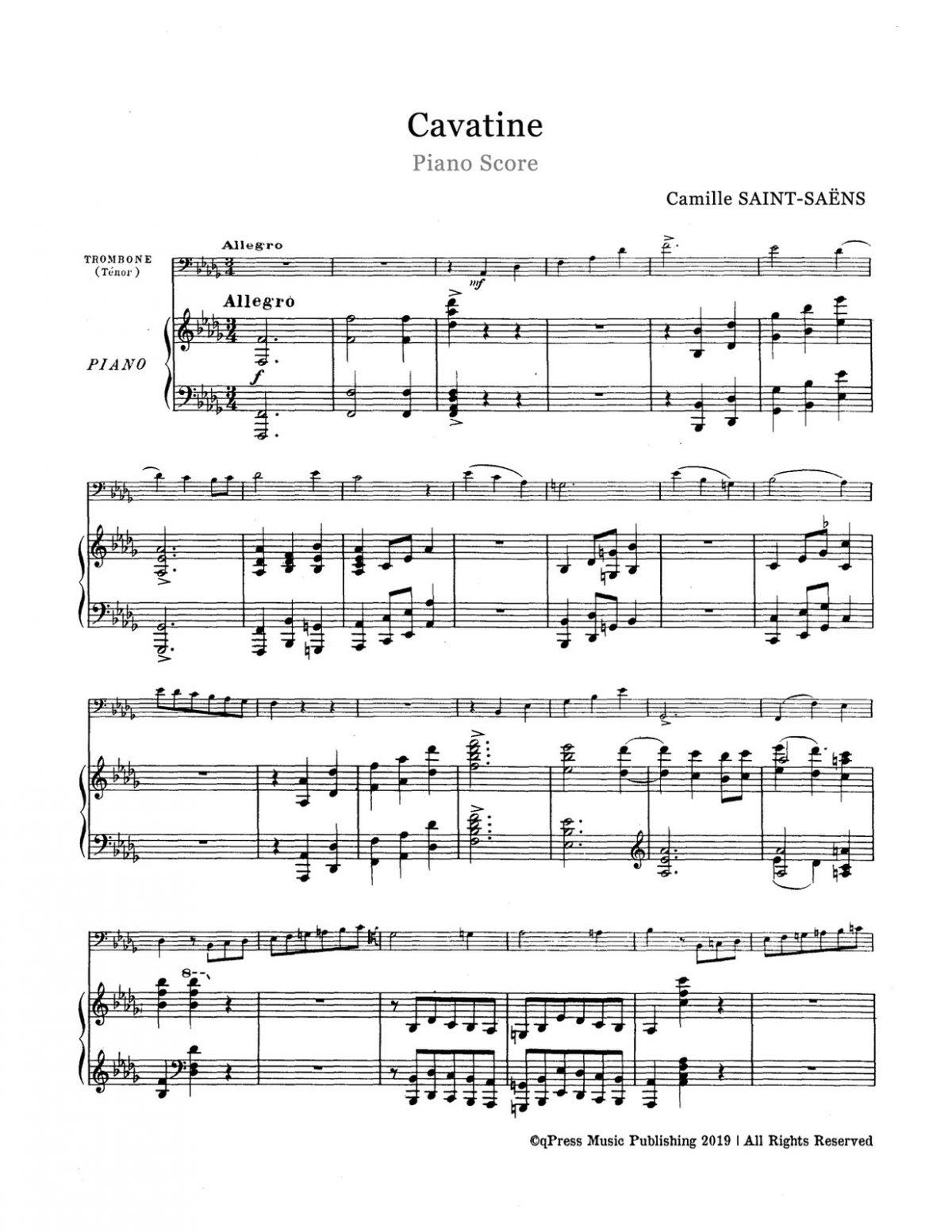 Saint-Saens, Cavatine for Trombone and Piano-p07