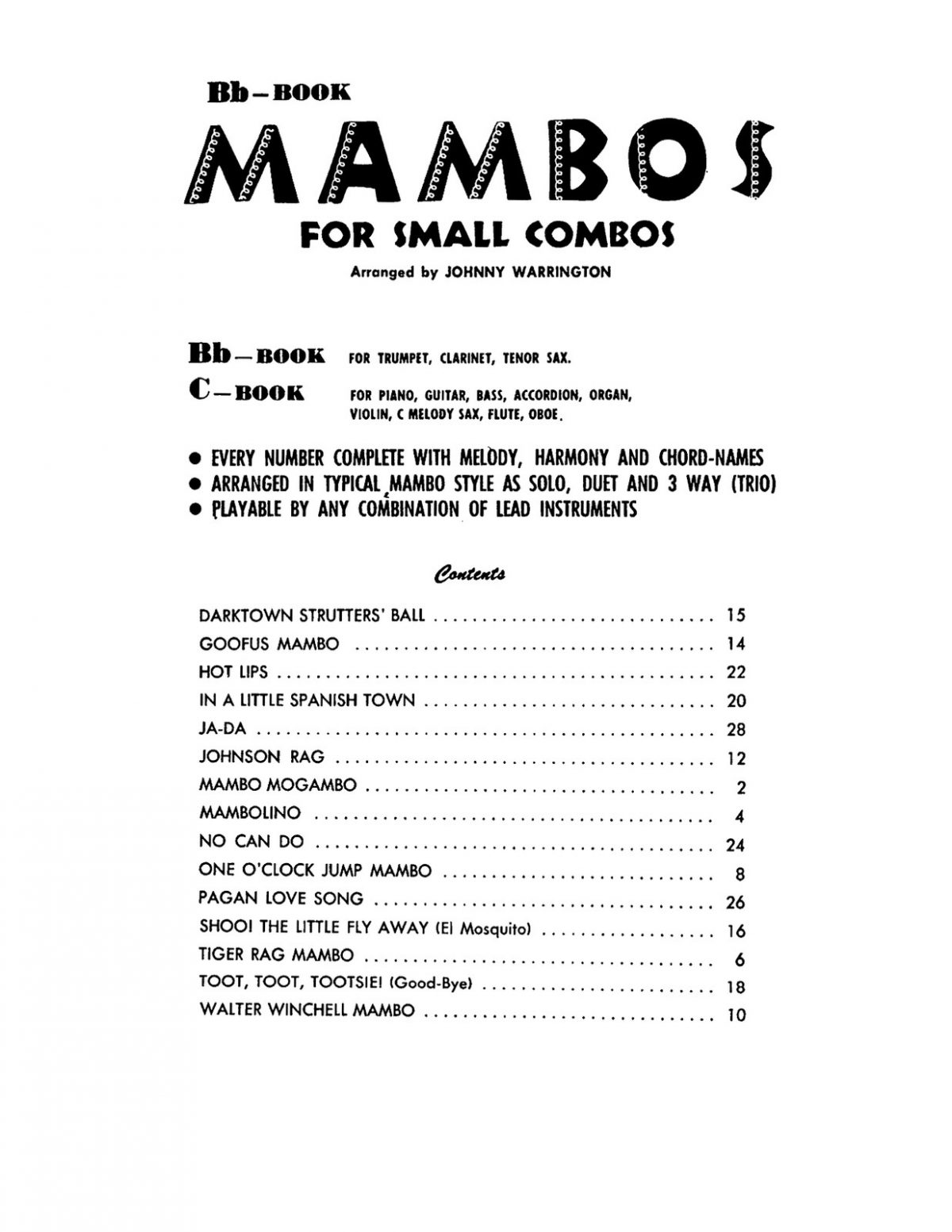 Warrington, Mambos for Small Combos Bb-p03