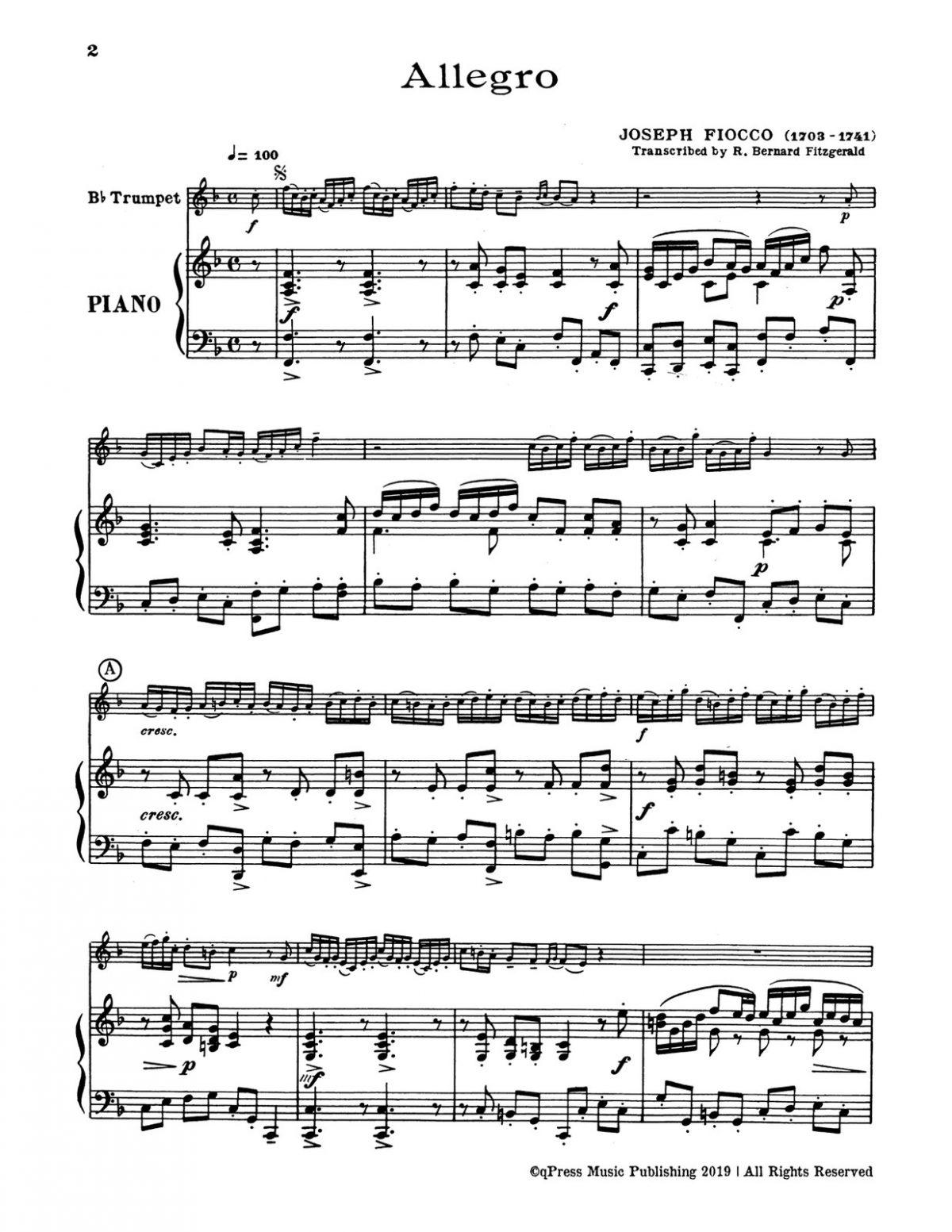 Fiocco, Allegro for Bb Trumpet and Piano-p3