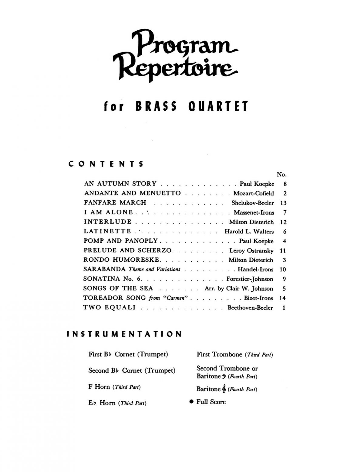 Various, Program Repertoire for Brass Quartet (Score & Parts)-p003