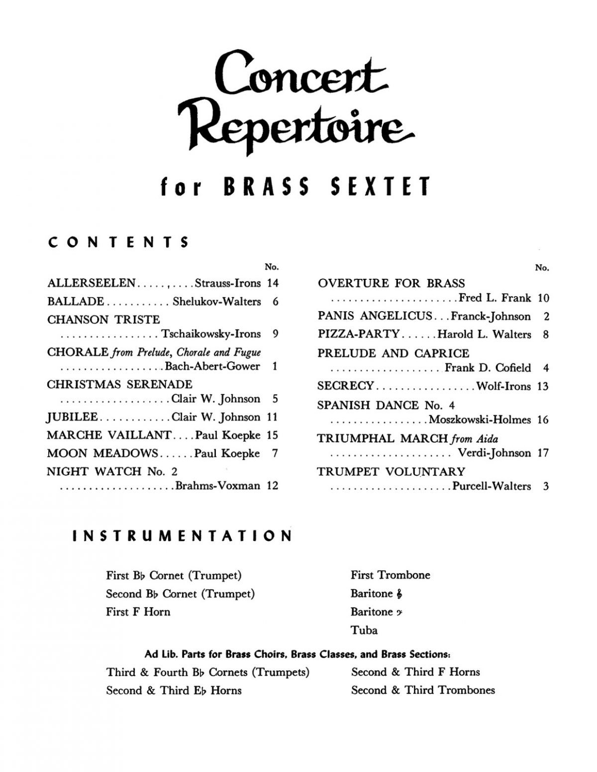 Various, Concert Repertoire for Brass Sextet (Score and Parts)-p003