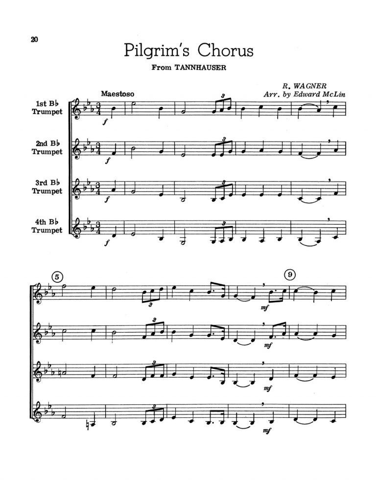 For Four Trumpets: 15 Elementary & Intermediate Selections