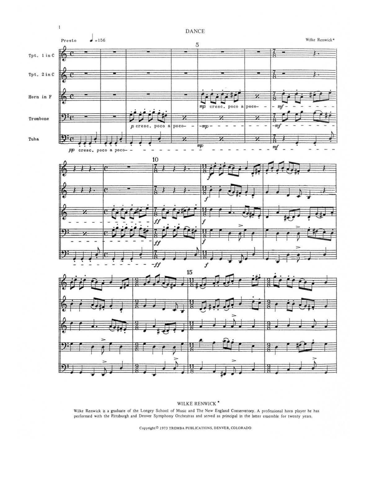Renwick, Dance for Brass Quintet-p03
