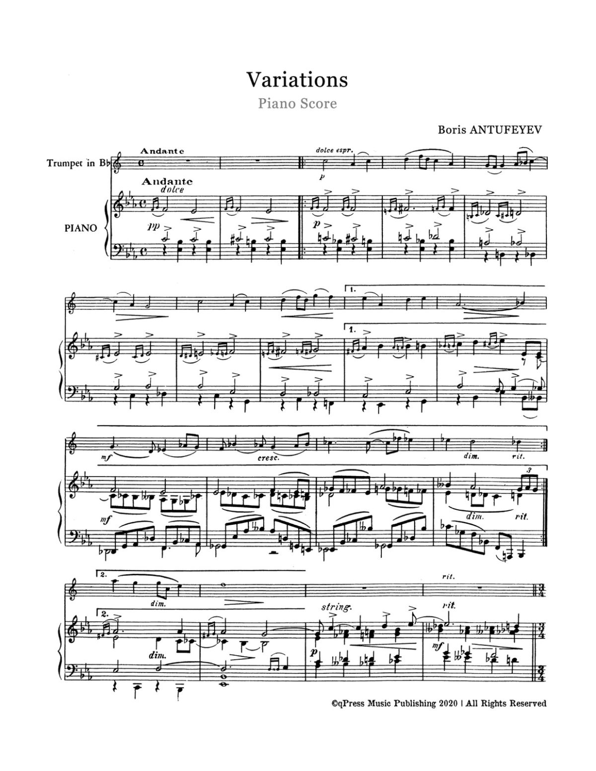 Antufeyev, Boris, Variations for Trumpet and Piano-p06