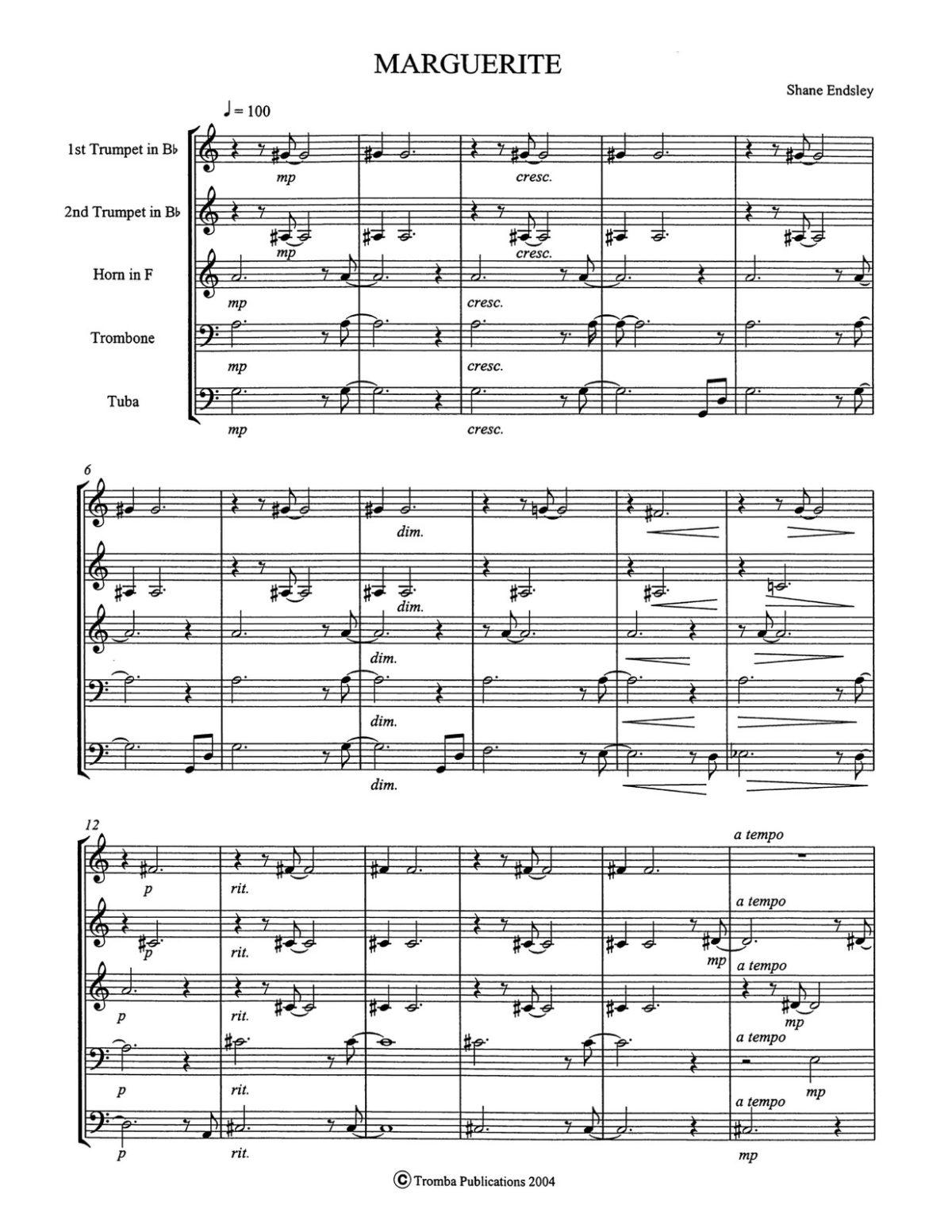 Endsley, Marguerite for Brass Quintet-p13