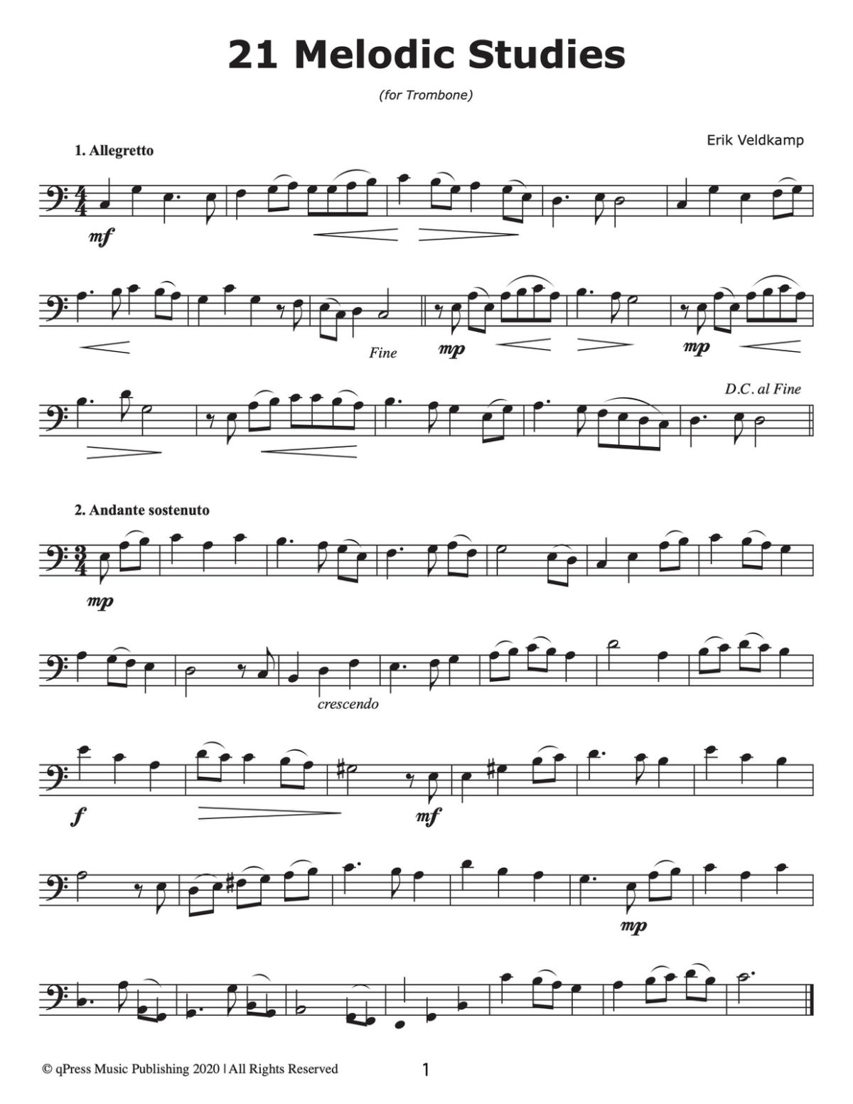 21 melodic Studies for Trombone