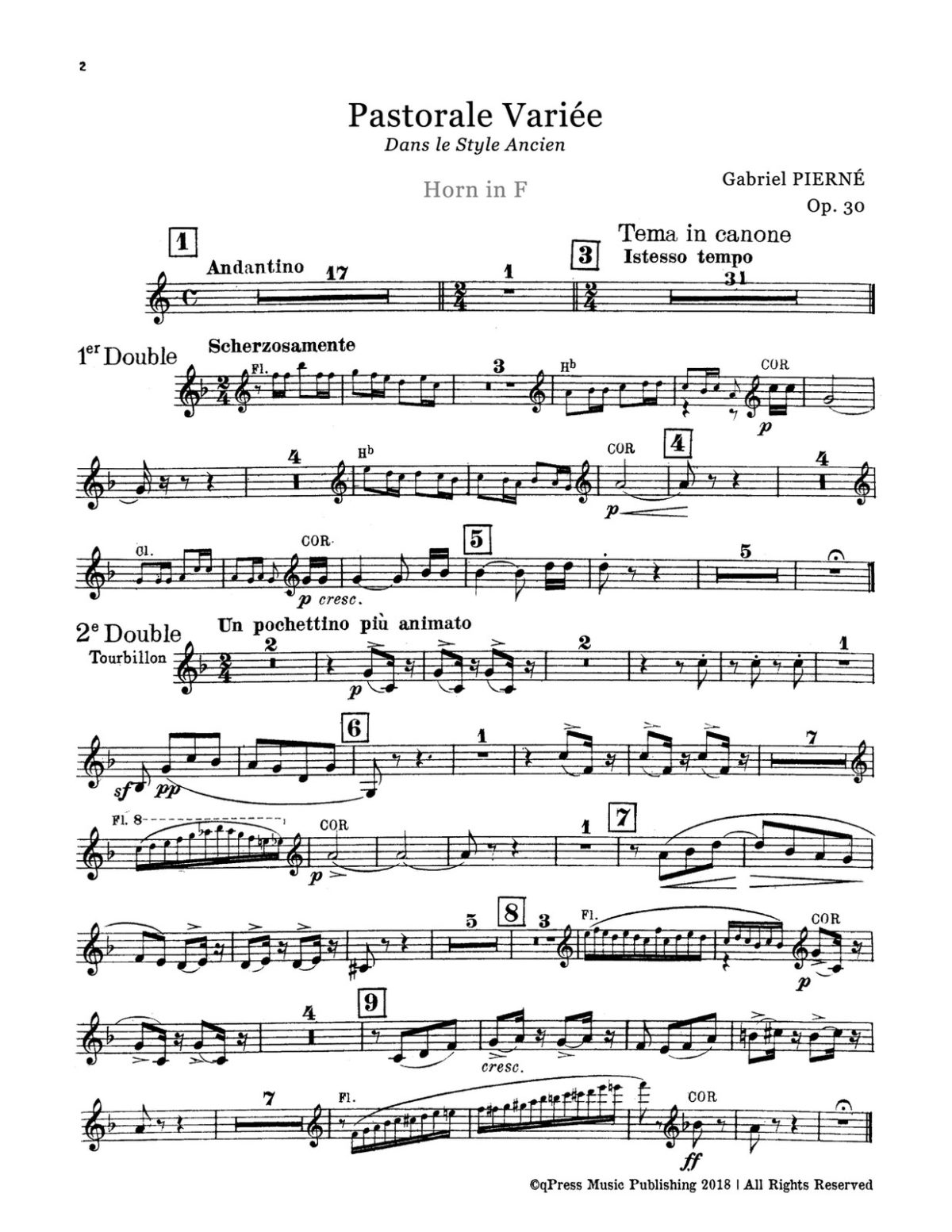 Pierné, Pastorale Variée Parts and Score-p23