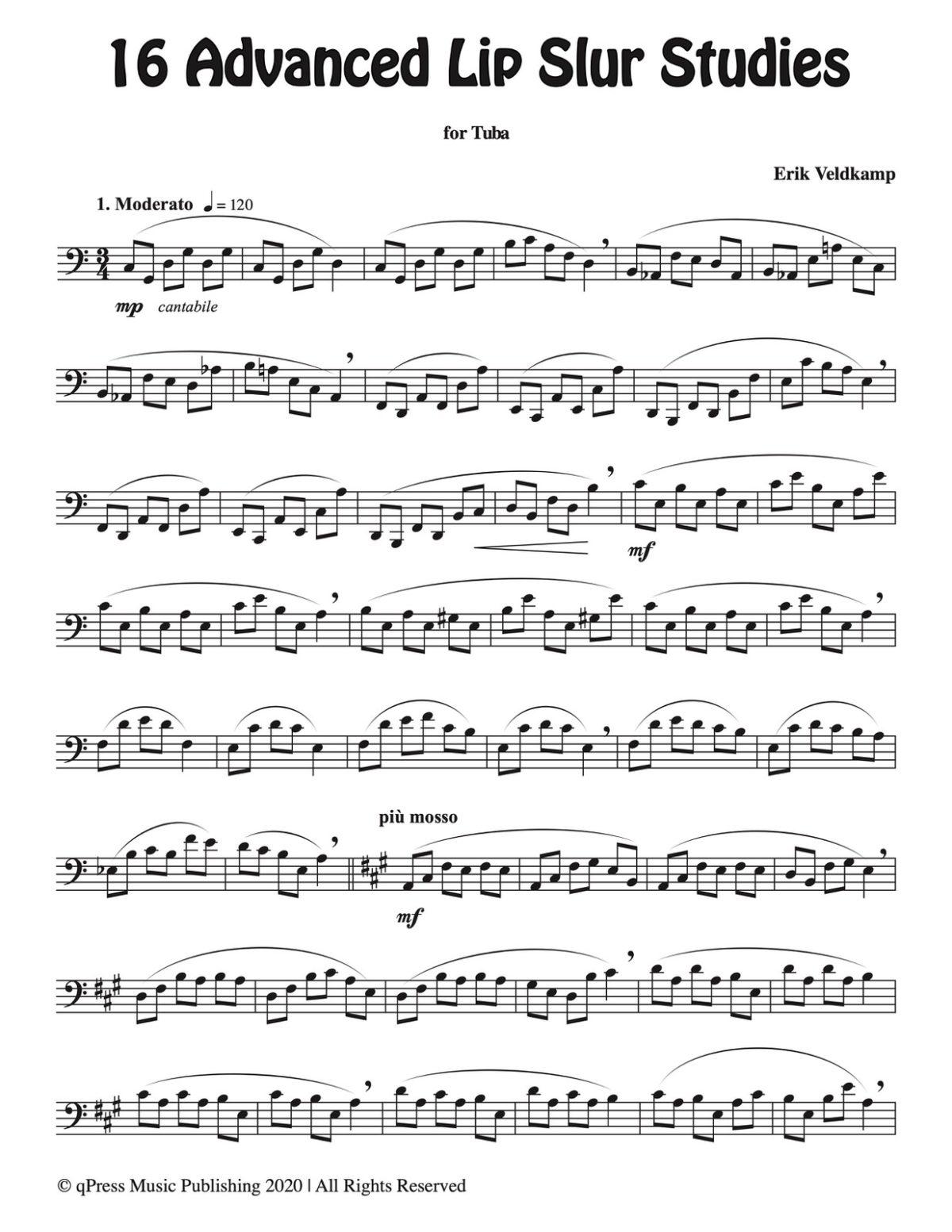 Veldkamp, 16 Advanced Lip Slur Studies for Tuba-p03