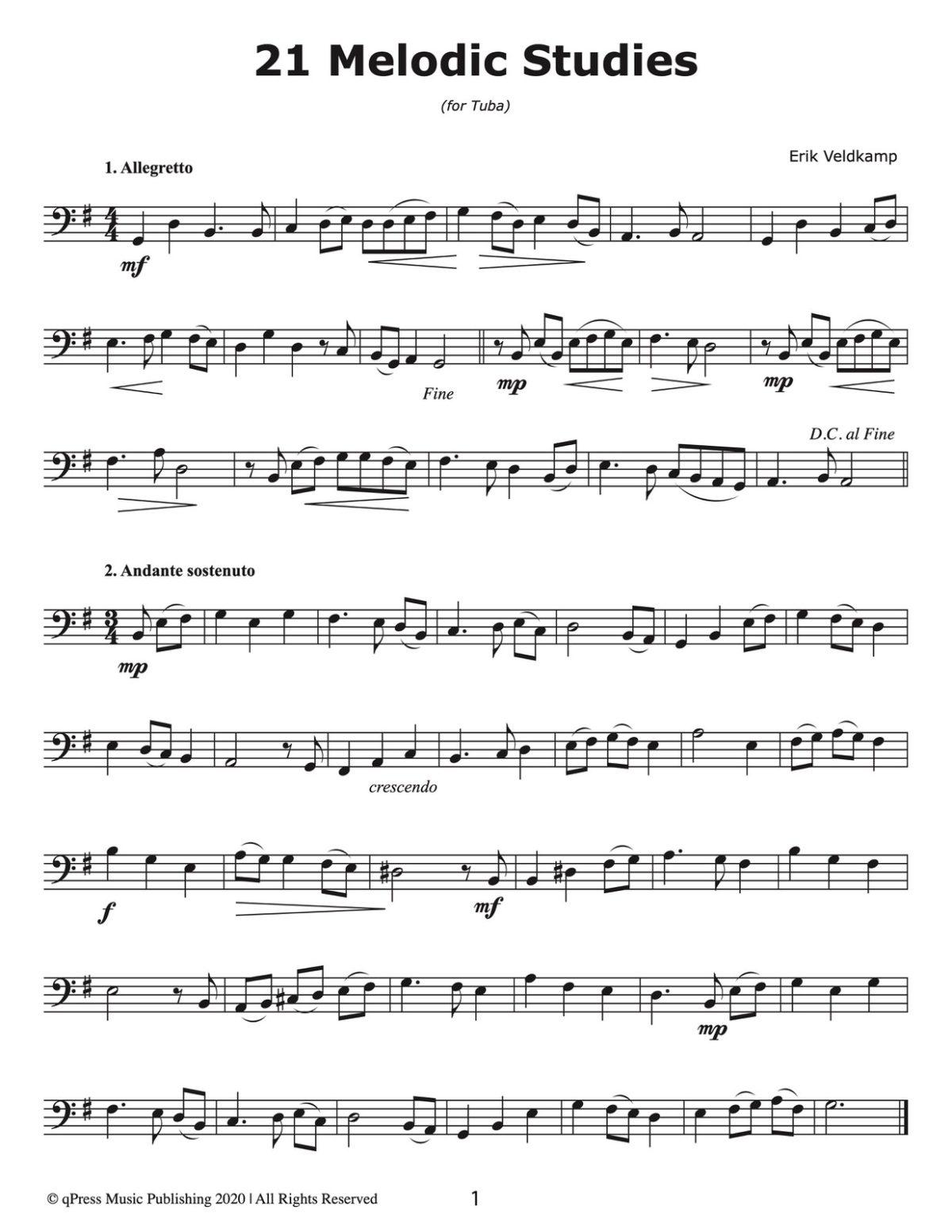 Veldkamp, 21 melodic Studies for Tuba-p03