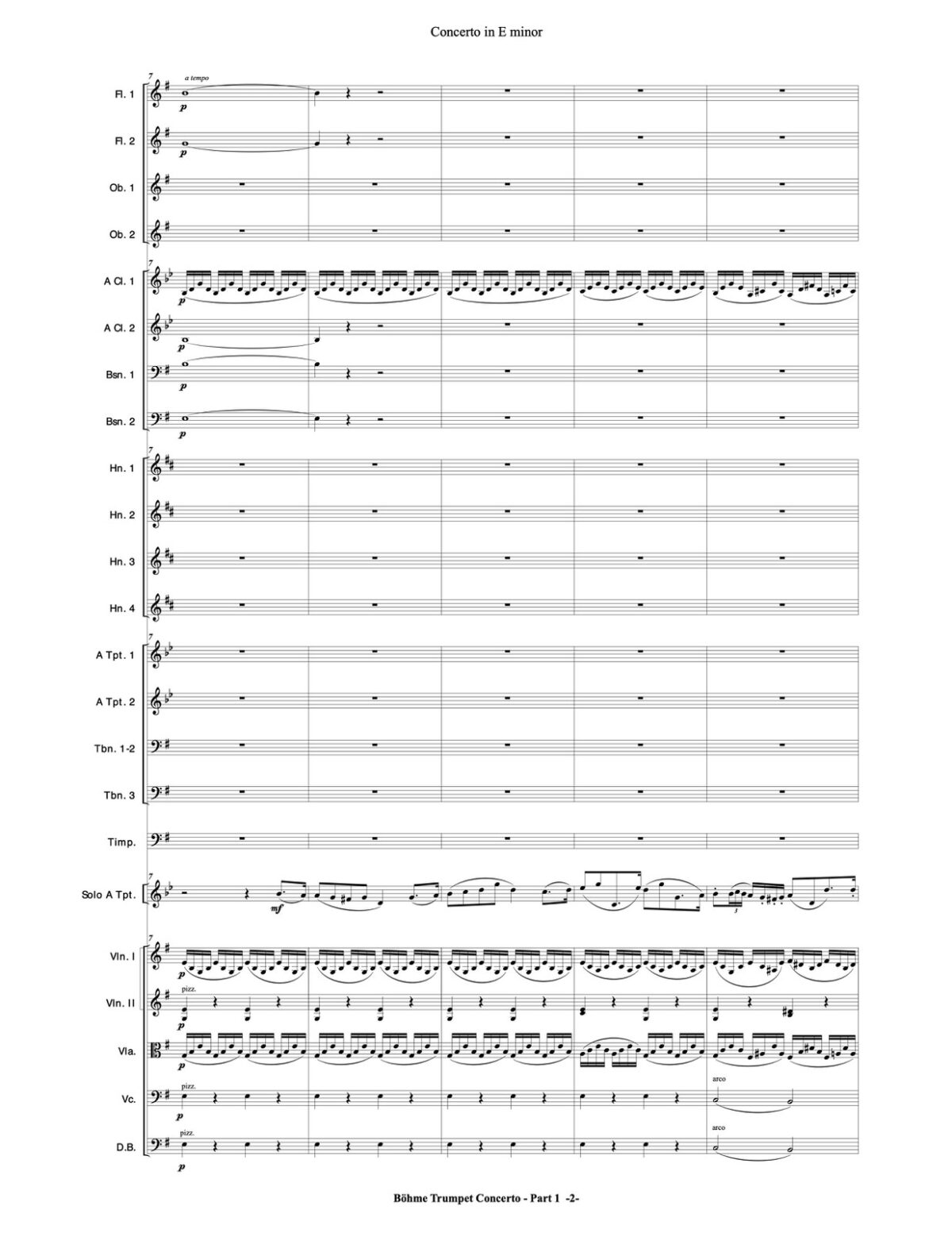 Böhme, Concerto in E for Trumpet and Orchestra-p138