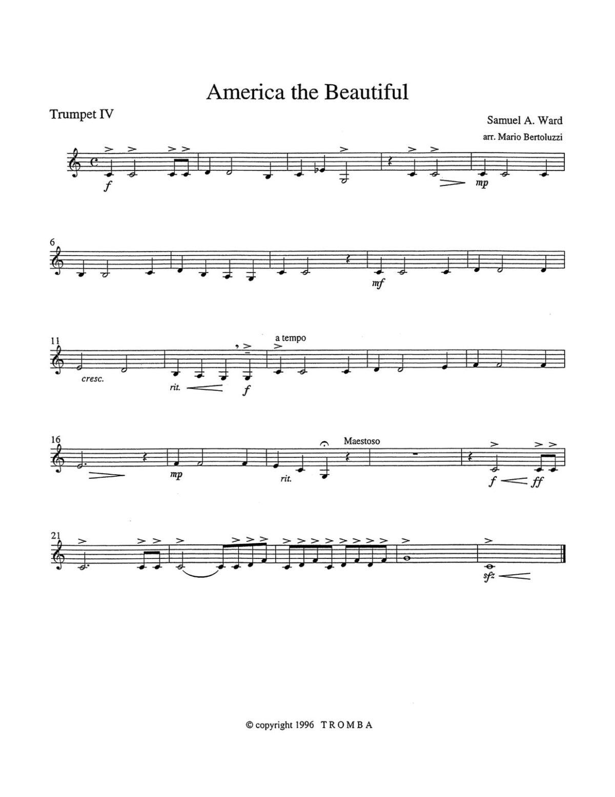 Bertoluzzi, An American Collection for Trumpet Quartet-p17