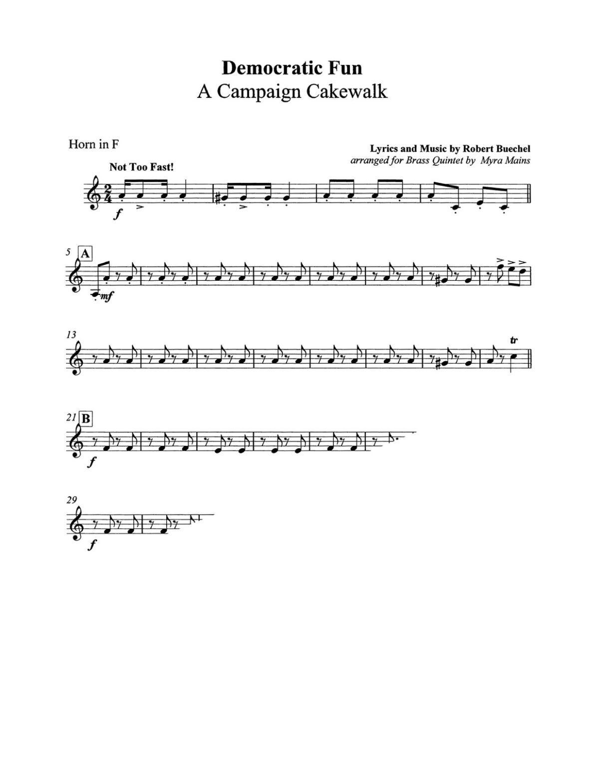 Buechel arr Mains, Democratic Fun A Campaign Cakewalk brass quintet-p7-p1