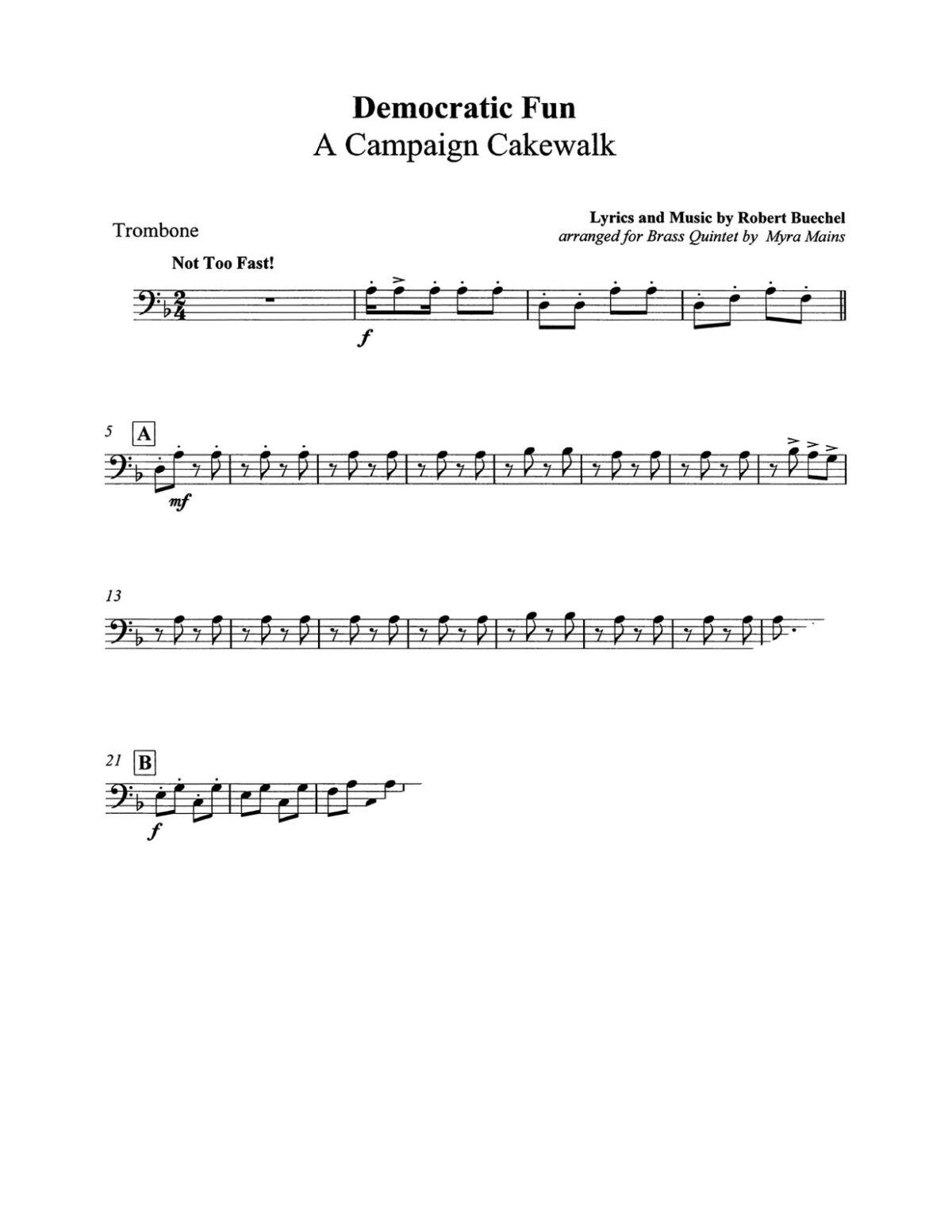 Buechel arr Mains, Democratic Fun A Campaign Cakewalk brass quintet-p9-p1