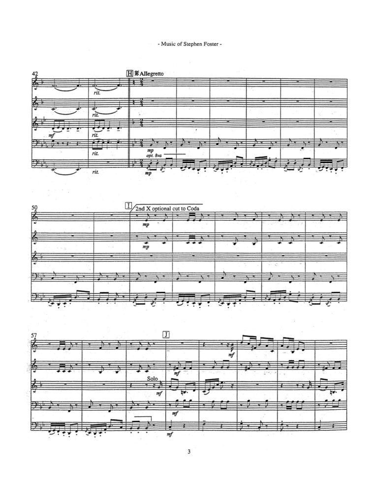 Music of Stephen Foster for Brass Quintet