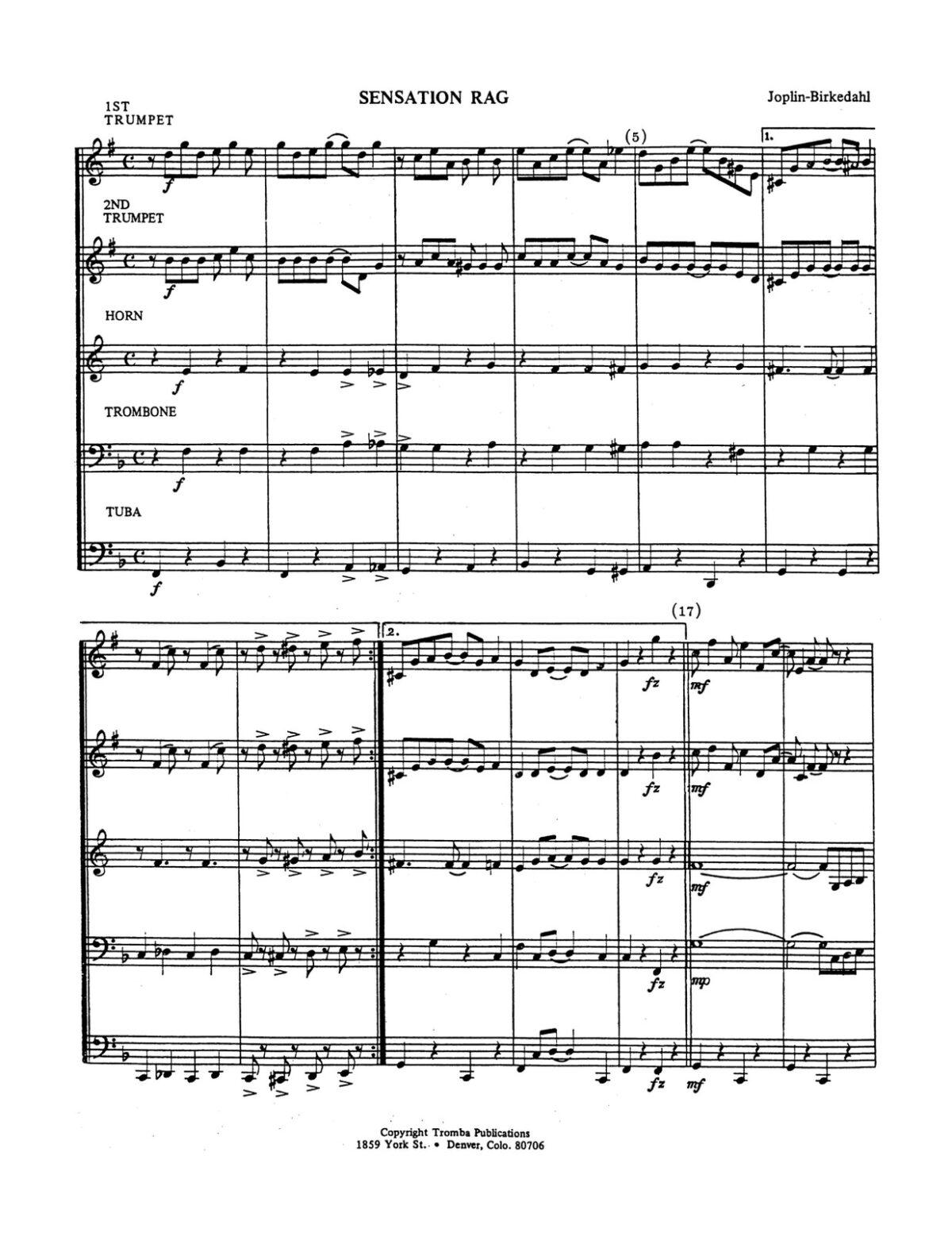 Joplin arr. Birkedahl, The Sensation Rag-p13