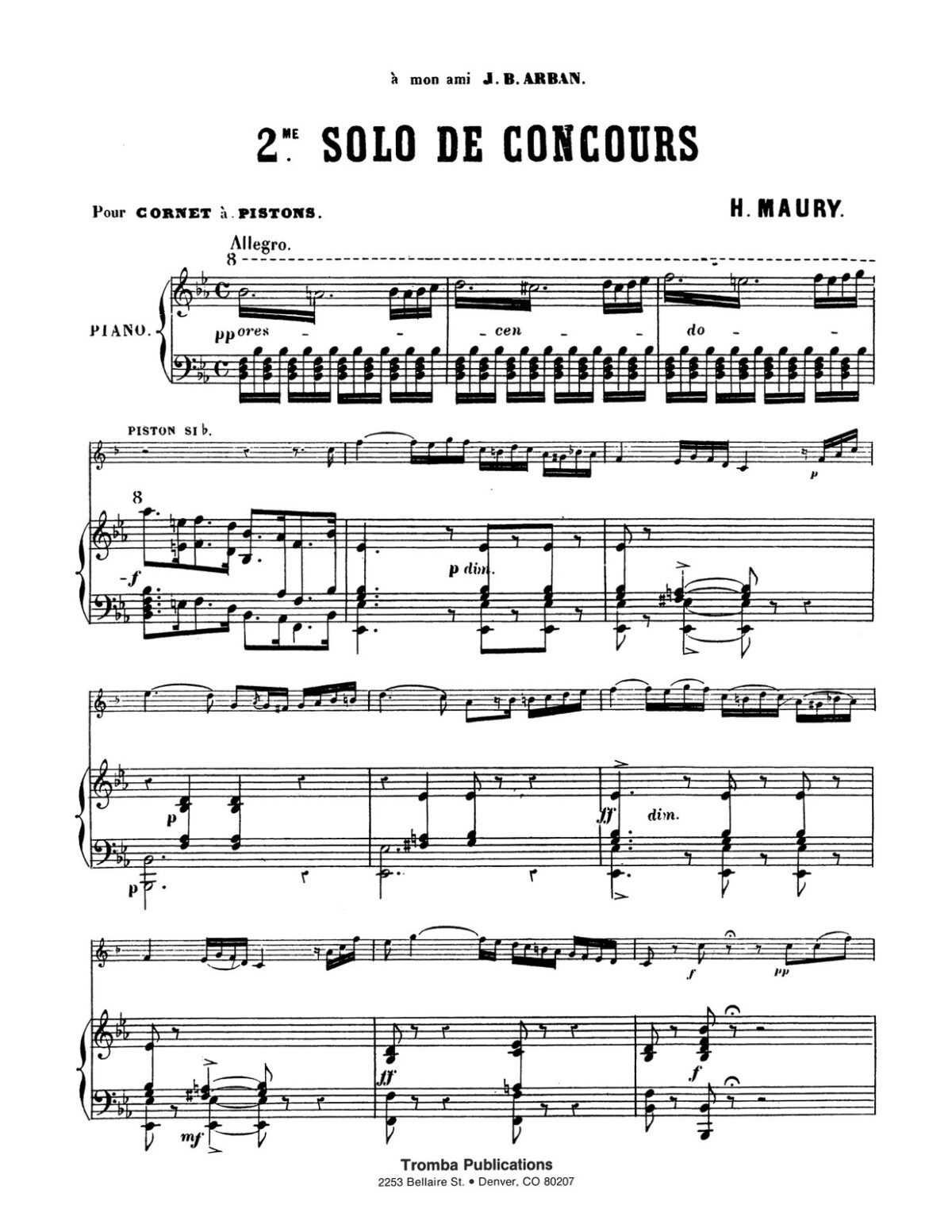 Maury, 2nd Solo de Concours for Trumpet and Piano-p07