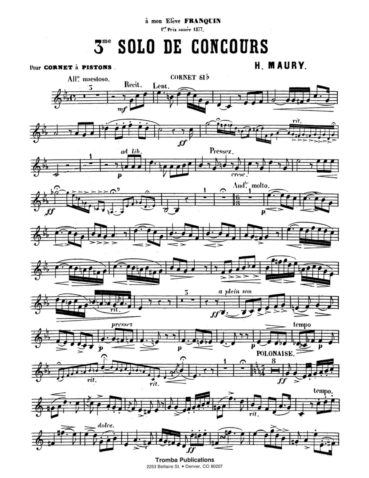 Maury, 3rd Solo de Concours for Trumpet and Piano-p03