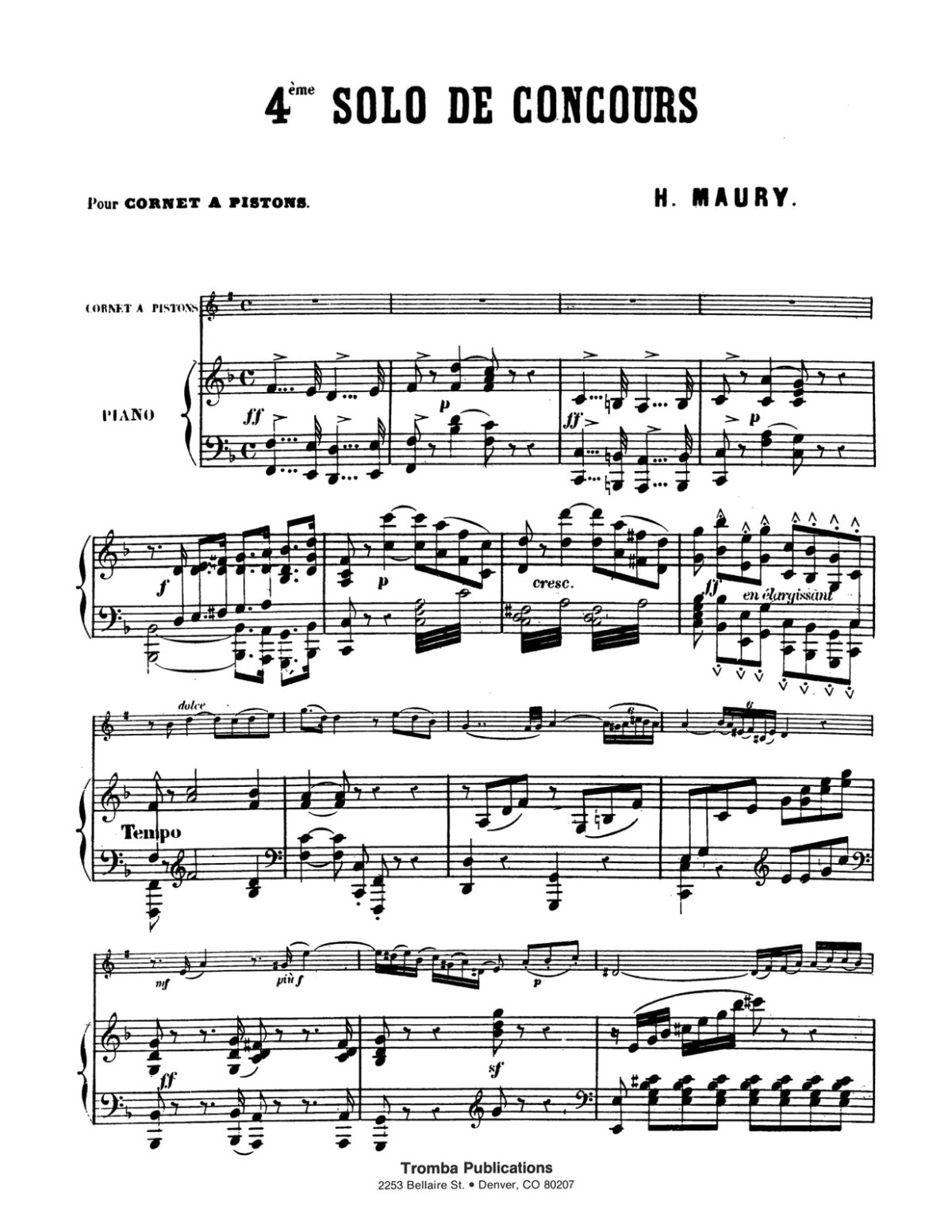 Maury, 4th Solo de Concours for Trumpet and Piano-p07