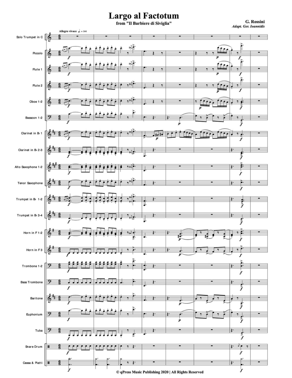 Rossini, Largo al Factotum for Trumpet and Band-p081
