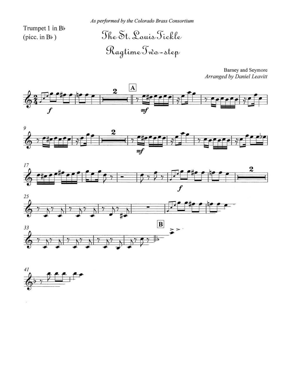 Seymore arr. Leavitt, The St. Louis Tickle Ragtime Two-Step brass quintet-p03