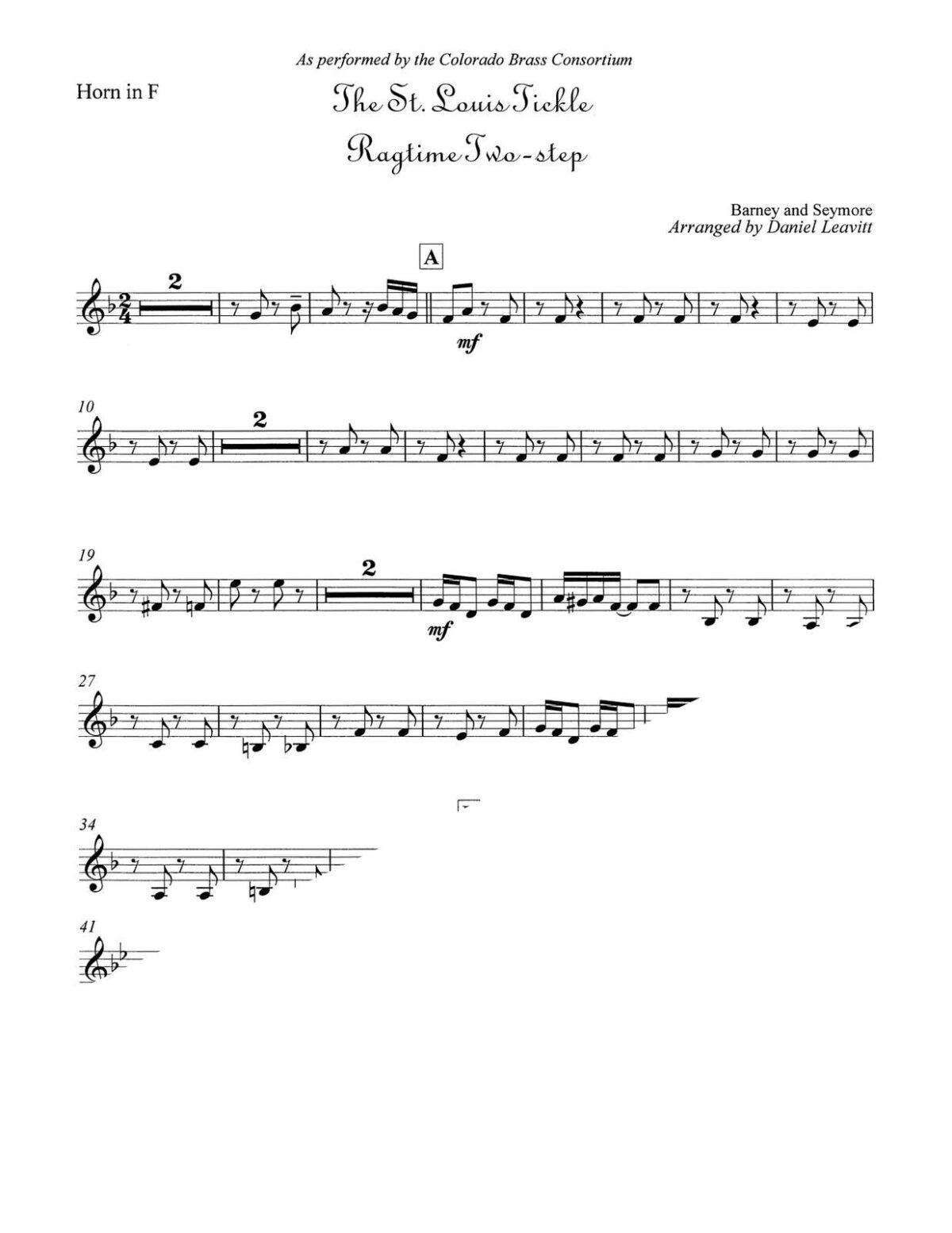 Seymore arr. Leavitt, The St. Louis Tickle Ragtime Two-Step brass quintet-p07