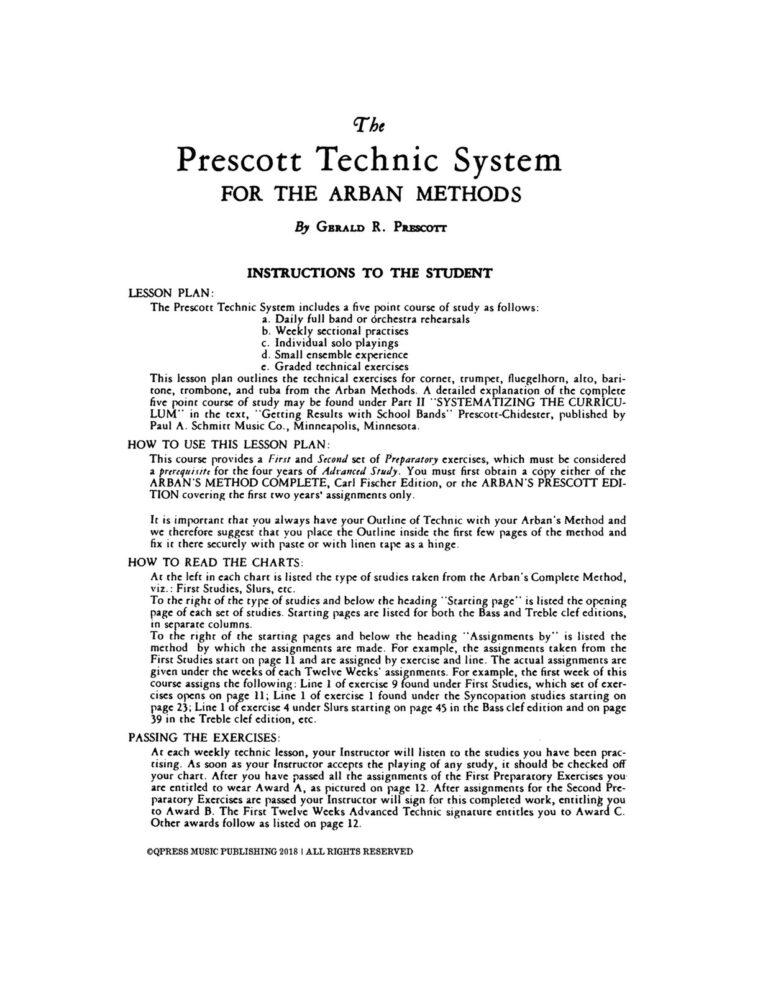 Prescott Technic System for Arban (Tuba)