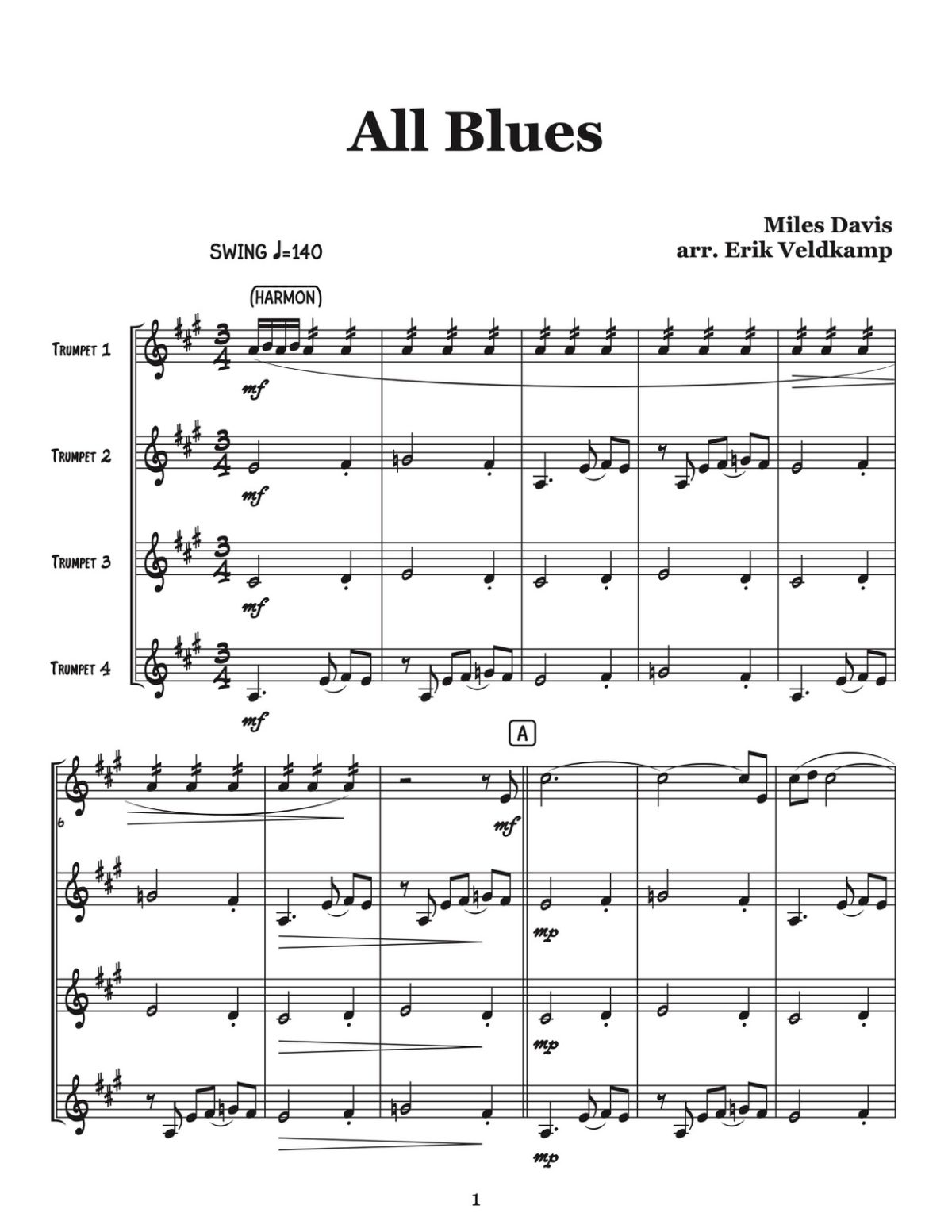 Veldkamp, Swinging Trumpet Quartets Vol.3 (Score)-p08